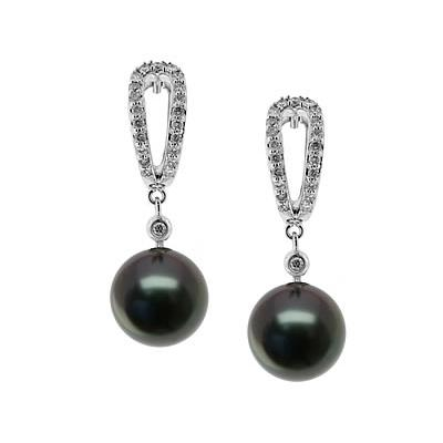 Natural Black Tahitian Round Pearl & Diamond Earrings in 14kt White Gold