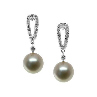 Natural Fresh Water Round Pearl & Diamond Earrings in 14kt White Gold