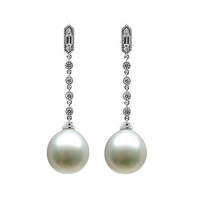Natural South Sea Drop Pearl & Diamond Earrings in 18kt White Gold