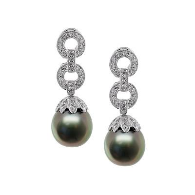Natural Black Tahitian Drop Pearl & Diamond Earrings in 18kt White Gold