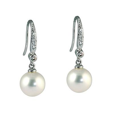 Natural Freshwater Round Pearl & Diamond Drop Earrings in 14K White Gold