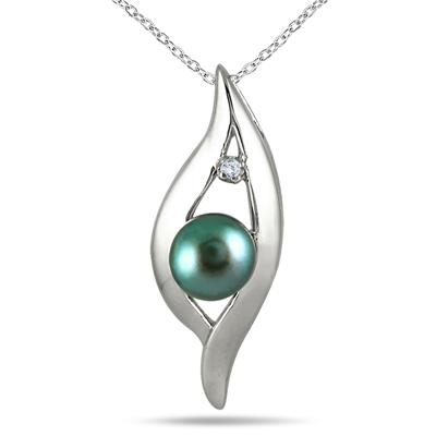 6.5MM Natural Freshwater Cultured Pearl and Diamond Pendant in .925 Sterling Silver