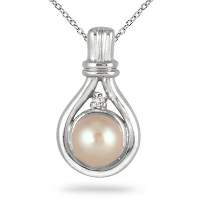 7MM Natural Freshwater Pink Pearl and Diamond Pendant in .925 Sterling Silver