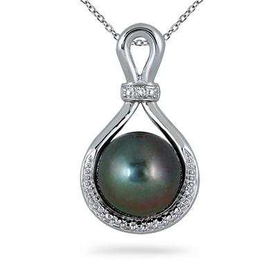 10-10.5mm Natural Freshwater Black Cultured Pearl and Diamond Pendant in .925 Sterling Silver