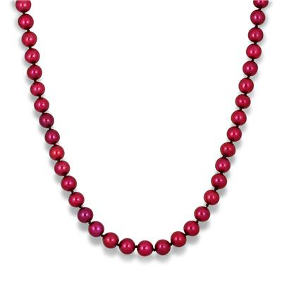 6.5-7mm Freshwater Cranberry Cultured Pearl Necklace with Sterling Silver Clasp