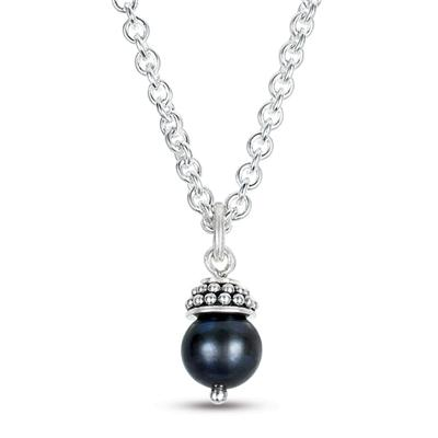 5-5.5MM Black Pearl Pendant in .925 Sterling Silver