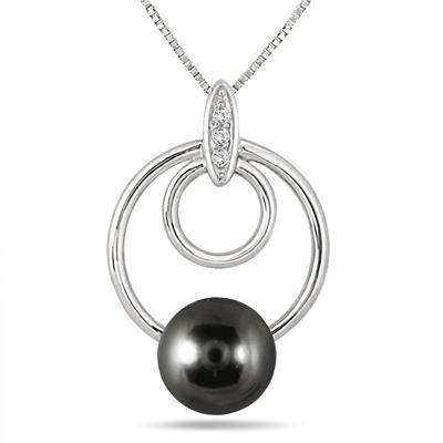 8MM Natural Freshwater Black Cultured Pearl and White Topaz Pendant in .925 Sterling Silver