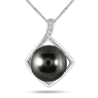 10MM Natural Freshwater Black Pearl and White Topaz Pendant in .925 Sterling Silver