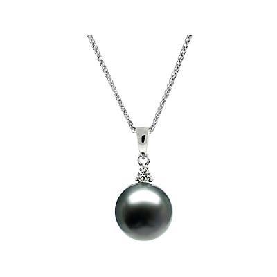 Natural Black Tahitian Round Pearl & Diamond Pendant in 14kt White Gold