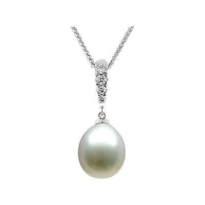 Natural Tahitian Drop Pearl & Diamond Pendant in 14kt White Gold