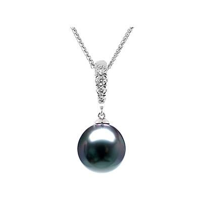 Natural Black Tahitian Drop Pearl & Diamond Pendant in 14kt White Gold
