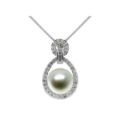 Natural South Sea Button Pearl & Diamond Pendant in 18kt White Gold