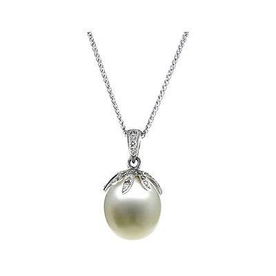 Natural South Sea Drop Pearl & Diamond Pendant in 14kt White Gold