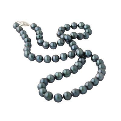 All Natural Black Freshwater Round Cultured Pearl Necklace Strand 14K White Gold