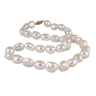 Natural Freshwater Baroque Pearl Necklace with 14K Yellow Gold Clasp