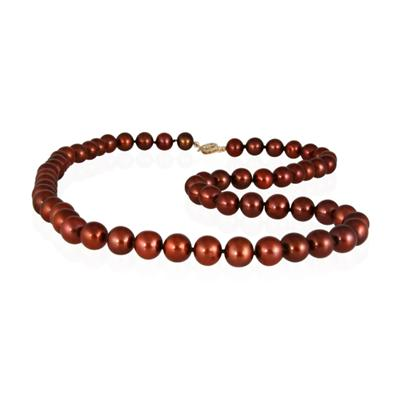 7-8.0MM Natural Freshwater Chocolate Pearl Necklace Strand with 14K Gold  Clasp