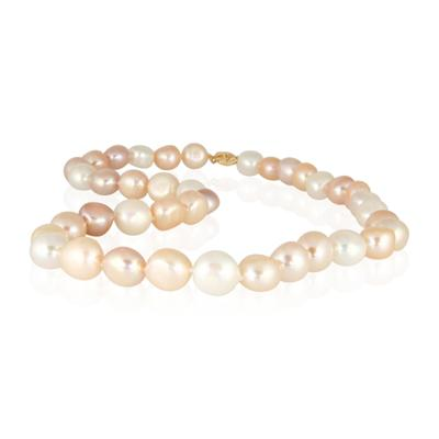 10-11.0MM Natural Freshwater Multicolor Baroque Pearl Necklace Strand with 14K Gold  Clasp