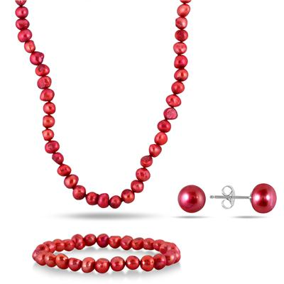 7-8MM All Natural Freshwater Cranberry Rice Pearl Jewelry Set in .925 Sterling Silver