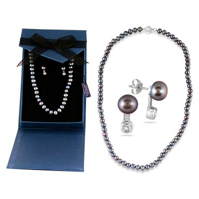 6MM Freshwater Black Pearl and White Topaz Necklace and Earring Set in .925 Sterling Silver