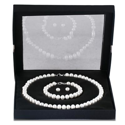 All Natural Freshwater White Pearl Jewelry Set in .925 Sterling Silver