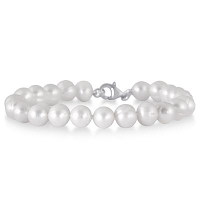 All Natural Freshwater White Cultured Pearl Jewelry Set in .925 Sterling Silver