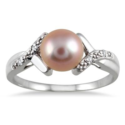 7mm All Natural Pink Cultured Pearl and Diamond Ring in .925 Sterling Silver