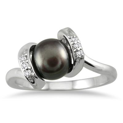 7mm All Natural Freshwater Cultured Pearl and Diamond Ring in .925 Sterling Silver