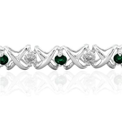 1.50 Carat TW Emerald and Diamond X Bracelet 10K White Gold