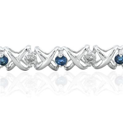 1.50 Carat TW Sapphire and Diamond X Bracelet 10K White Gold