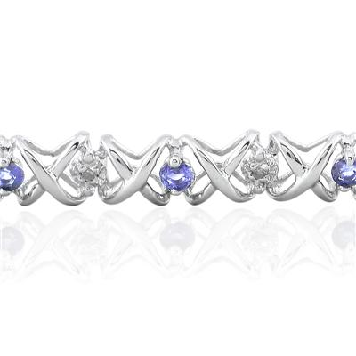 1.50 Carat TW Tanzanite and Diamond X Bracelet 10K White Gold