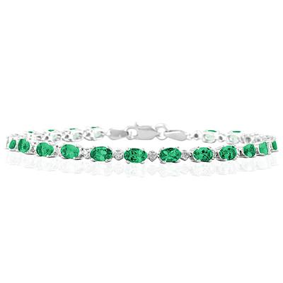 5.30 Carat TW Emerald and Diamond Bracelet in 10K White Gold