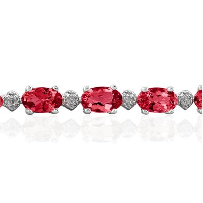 5.30 Carat TW Ruby Bracelet in 10K White Gold