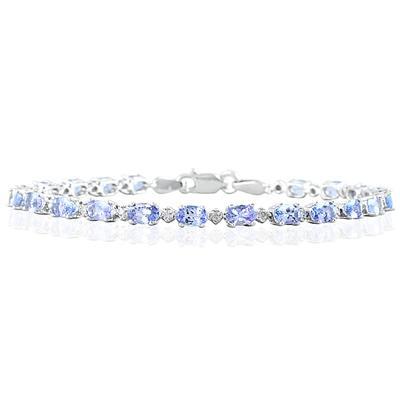 5.30 Carat TW Tanzanite and Diamond Bracelet in 10K White Gold