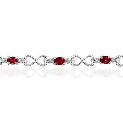 10k White Gold Ruby and Diamond Heart Link Bracelet