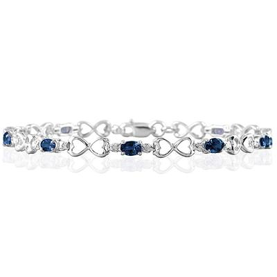 10k White Gold Sapphire and Diamond Heart Link Bracelet