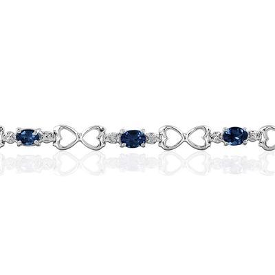 10k White Gold Sapphire and Diamond Heart Link Bracelet