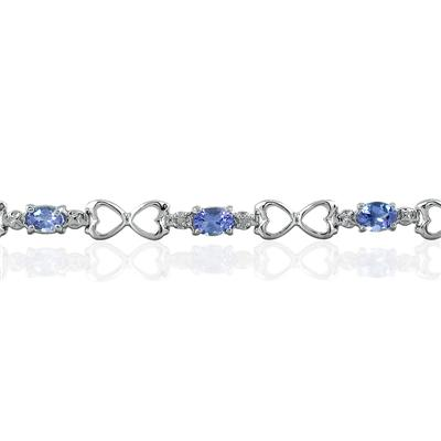 10k White Gold Tanzanite and Diamond Heart Link Bracelet