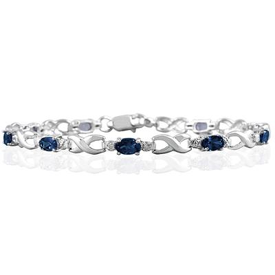10k White Gold Sapphire and Diamond Hugs and Kisses Bracelet