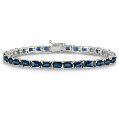 11 Carat Emerald Cut Sapphire Bracelet in .925 Sterling Silver