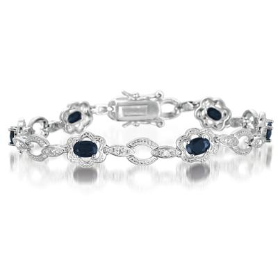 3.50 Carat Oval Sapphire and Diamond Bracelet in .925 Sterling Silver