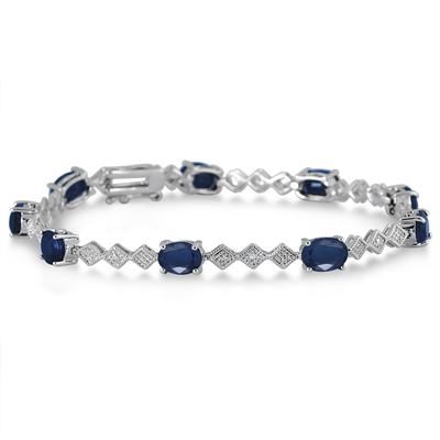 Sapphire and Diamond Bracelet in Rhodium Plated Brass
