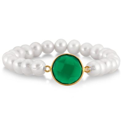 7-8MM Freshwater White Cultured Pearl and Onyx Emerald Bracelet in 18K Yellow Gold Plated Sterling Silver