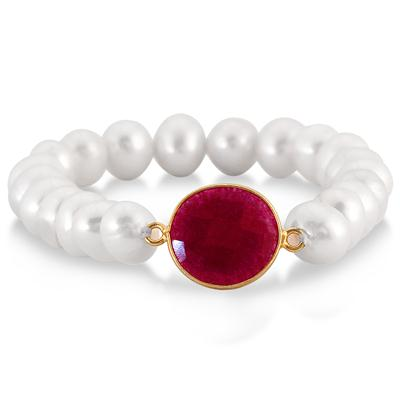 7-8 MM Freshwater White Cultured Pearl and Onyx Ruby Bracelet in 18K Yellow Gold Plated Sterling Silver