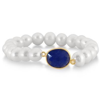 7-8 MM Freshwater White Cultured Pearl and Onyx Sapphire Bracelet in 18K Yellow Gold Plated Sterling Silver