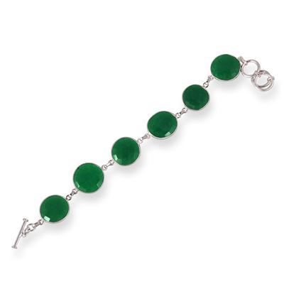 45 Carat  Rough Indian Onyx Emerald Link Bracelet in .925 Sterling Silver