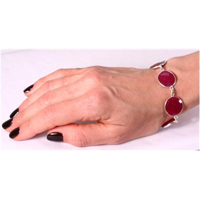 45 Carat Rough Indian Onyx Ruby Link Bracelet in .925 Sterling Silver