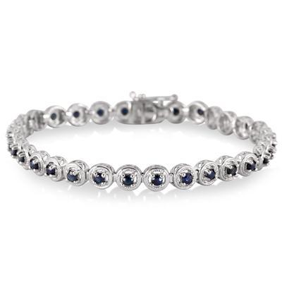 1.60 Carat Sapphire Bracelet in .925 Sterling Silver