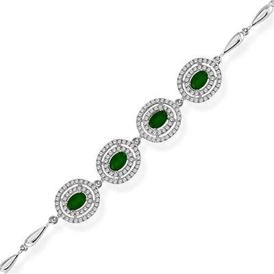 4.60 Carat Created Emerald and White Topaz Estate Bracelet in .925 Sterling Silver