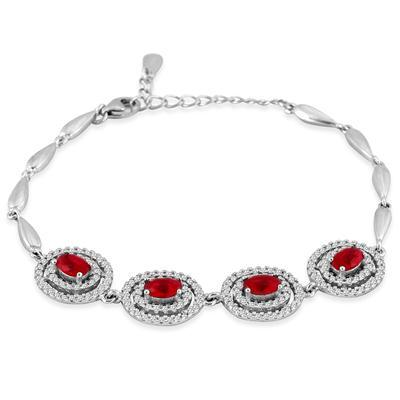 4.60 Created Ruby and White Topaz Estate Bracelet in .925 Sterling Silver