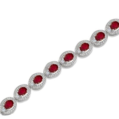 5.50 Carat Genuine Ruby and Diamond Bracelet in .925 Sterling Silver